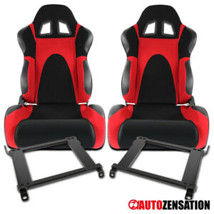 For 96 00 Honda Civic 2 3 4dr Black red Faux Suede Pvc Sport Seats Pair brackets