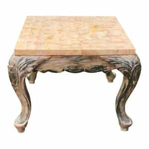 Small Antique Walnut Marble Top End Table