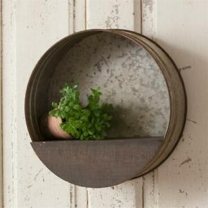 Country New Distressed Tin Round Wall Shelf Nice