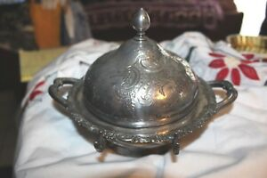 Antique Meriden Silver Plate Embossed Cheese Butter Dish 6 X 9