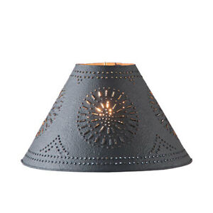 New 17 Textured Black Punched Tin Lamp Shade