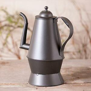 Colonial New Smokey Black Decorative Tin Tea Kettle Nice