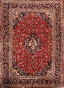Traditional Floral Kaashan Persian Handknotted Medallion Oriental Area Rug 10x14