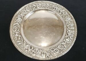 Antique Sterling Silver Repousse 11 Round Tray 22 78 Troy Oz