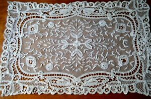 18c Brussels Princess Lace Dresser Scarf W Maltese Cross H Made