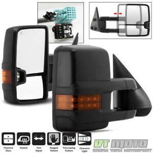 Pair 2003 2006 Chevy Silverado Gmc Sierra Power Heated W led Signal Tow Mirrors