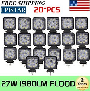 20x 27w Flood Work Led Light Fog Lamp Square Driving Offroad Suv Jeep Truck Drl
