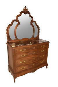 Great French Louis Xv Dresser And Mirror Marble Top Late 19th Century Walnut