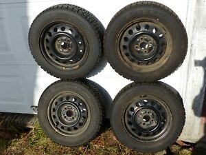 4 Used Goodyear M s Nordic P175 65r14 Tires Mounted On 1993 2002 Corolla Rims