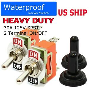 2pc 12v Heavy Duty Toggle Flick Switch On off Car Boat Suv Dash Light Metal Spst
