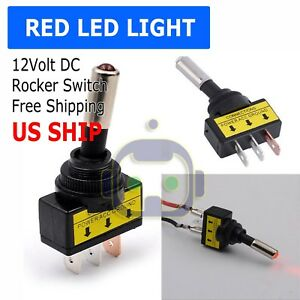 12v 20a Car Auto Red Led Light Toggle Rocker Switch 3pin Spst On Off Sales