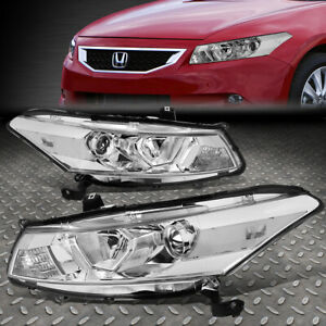 For 08 12 Honda Accord Coupe Chrome clear Corner Projector Headlight Head Lamps