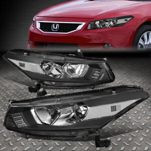 For 08 12 Honda Accord Coupe Black clear Corner Projector Headlight Head Lamps