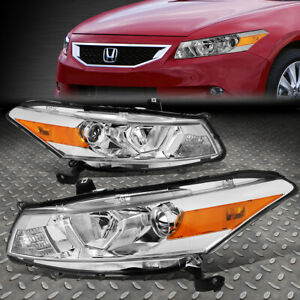 For 08 12 Honda Accord Coupe Chrome amber Corner Projector Headlight Head Lamps