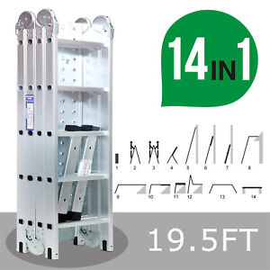 19 5ft Extension Multi Purpose Folding Aluminum Step Ladder Multi function