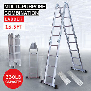 15 5ft Aluminum Multi Purpose Telescopic Ladder Extension Folding Home Use