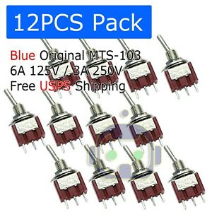 12 Pcs Mts 103 Latch Mini Toggle Switch 125vac 6a On off on 3 Positions Spdt M64
