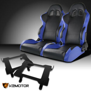 Fit 1999 2004 Mustang Black blue Pvc Leather Racing Seats laser Welded Brackets