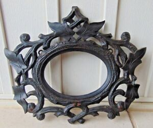 Antique Hand Carved Ornate Oval Picture Frame