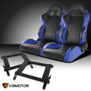 Fit 2005 2014 Ford Mustang Black blue Pvc Leather Sports Racing Seats brackets