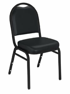 Nps 9210 bt cn Vinyl upholstered Dome Back Stack Chair With Steel Black Sandtex
