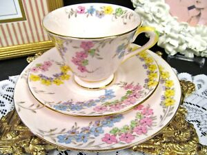 Tuscan Tea Cup And Saucer Trio Pink Painted Floral Wildflower Teacup Pattern