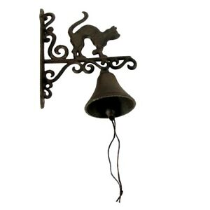 Rustic Metal Wall Mount Cat Door Call Bell Farm Garden Yard Patio Decor Doorbell
