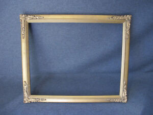 Vintage Golden Wooden Picture Frame With Metal Corners Appliques