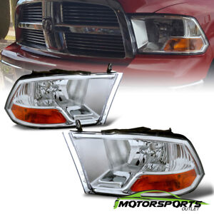 2009 2017 Dodge Ram 1500 10 17 2500 3500 Crystal Chrome Headlights Head Lamps