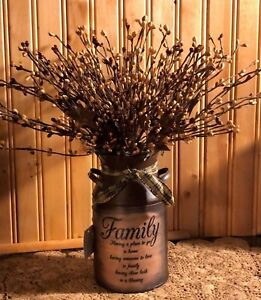 Primitive Decor Rusty Milk Can Family Saying Display Country Farmhouse