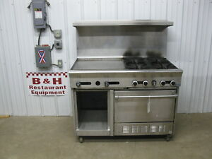 Us Range 4 Stainless Steel Heavy Duty 24 Griddle Grill 4 Burner Oven 48 Gas