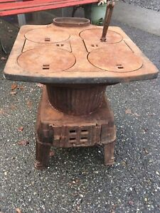 Antique Vintage Small Wood Parlor Cook Stove Art Deco Iron Potbelly Retro Heater