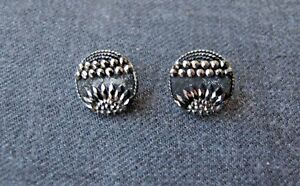 2 Antique Victorian Silvered Black Glass Buttons 30