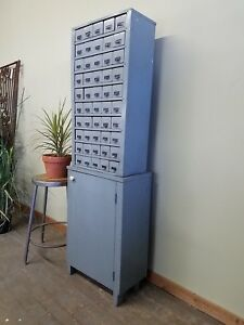 Vintage Industrial Painted 50 Drawer Factory Hardware Parts Cabinet