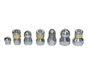 Xzt 7pack 4000psi Sewer Jetter Nozzle Kit rotating Button Nose pressure Washer D