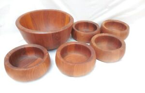 Vintage Dansk International Designs Teak Wood Bowls Serving Set Salad