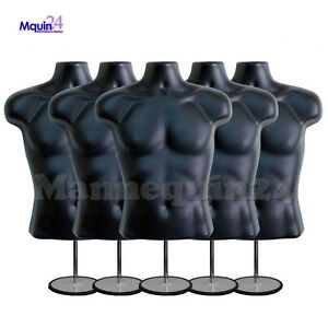 5 Male Torso Mannequin Forms black W 5 Stands 5 Hanging Hooks Men Clothings