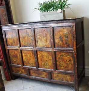 Decorative Sideboard Cabinet W Detailed Chinese Tibetan Painting