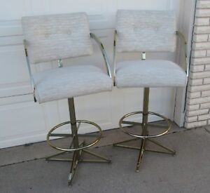Mid Century Regency Gold Brass Pair Bar Stools Milo Baughman Ivory Cream Swivel