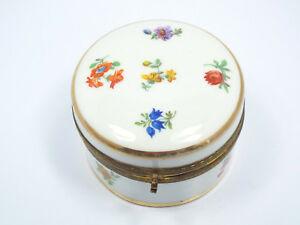 Vintage Germany Porcelain Painted Floral Vanity Powder Dresser Box With Mirror