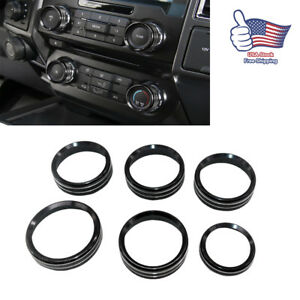 For Ford F150 2016 2018 Air Conditioner Audio Switch Decor Ring Cover Trim Black