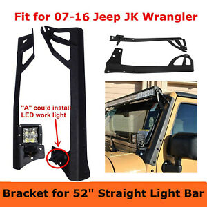 2007 2018 Jeep Wrangler Jk Mount Bracket Fit For 52inch Led Light Bar A Pillar