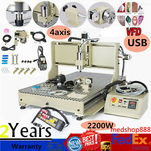 Usb Cnc 6090 Router 4 Axis Engraver Metal Wood Drilling Machine 2200w controller