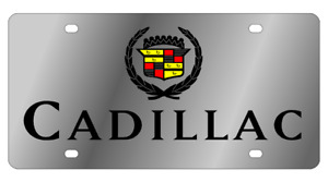 Cadillac Old Logo Mirror Polished 3d Logo Finish Stainless Steel License Plate