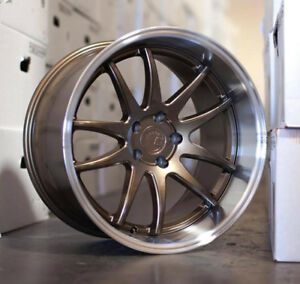 18x10 5 5x114 3 22 Aodhan Ds02 Bronze With Machined Deep Dish Lip Rims set 4