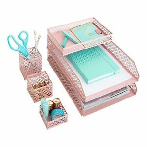 Blu Monaco 6 Piece Pink Interlocking Desk Organizer Set