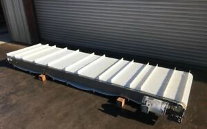 36 X 11 Long Incline Cleated Belt Stainless Food Conveyor Conveying
