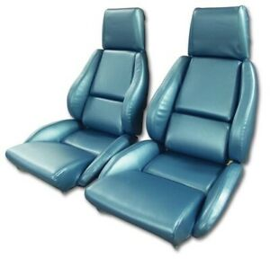 86 88 Corvette C4 Mounted Seat Upholstery Covers Blue Vinyl With Foam Set New