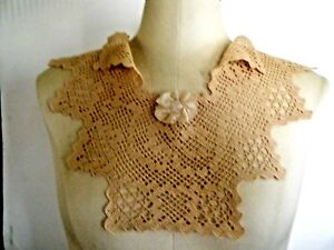 Antique Victorian Collar Hand Crocheted Lace Deco Style Large Piece Beauty