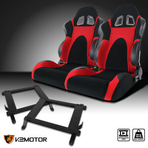 2005 2014 Ford Mustang Black red Faux Suede Pvc Leather Racing Seats brackets
